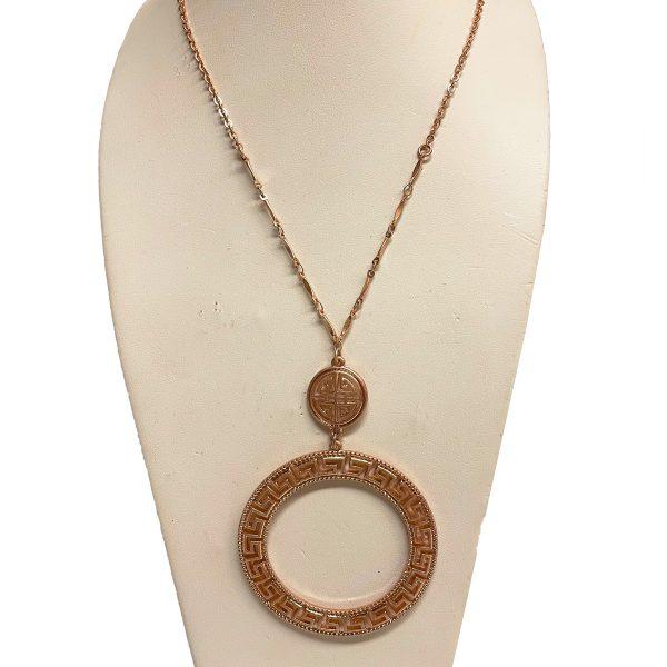 Canton Greek Fest Medallion Necklace - Adjustable Rose Gold