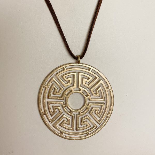 Canton Greek Fest Medallion Necklace - Gold